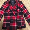 American Eagle Outfitters Jackets & Coats | American Eagle Red Plaid Pea Coat Classic Peacoat | Color: Blue/Red | Size: M