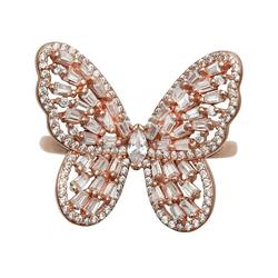 Primrose Sterling Silver Rose Gold Plated Tapered Pave Butterfly Band Ring, Women's, Size: 9, Pink