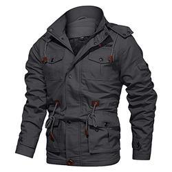 Winter Coats for Men Fleece Jacket Men Full Zip Work Jacket Tactical Jacket Cotton Jacket Stand Collar Cargo Jacket for Men Windbreaker Grey