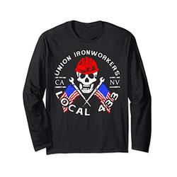 Union Ironworkers Local 433 American Flag Spud Hard Hat Long Sleeve T-Shirt