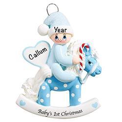 Baby's First Christmas Baby Keepsake Baby 2021 Ornament – Baby Boy First Christmas Ornament – Blue Baby 1st Christmas Rocking Horse Ornaments for Baby Christmas – My First Christmas Baby Boy Ornament