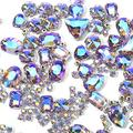 Sew On Rhinestones, Choupee 130PCS Sew On Stones Metal Back Prong Setting Sewing Claw Rhinestone Mixed Shapes Sew On Glass Gems for Jewelry, Clothes, Costume, Shoes, Belt, Dress, Garments and Crafts