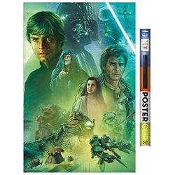 "Trends International Star Wars: The Return of The Jedi - Celebration Mural Wall Poster, 22.375"" x 34"", Premium Poster & Clip Bundle"