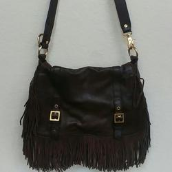 Tory Burch Bags | Authentic Tory Burch Fringe Flap Over Leather Bag | Color: Brown/Gold | Size: Apprx. 1392, Adj. 22 -12 Strap