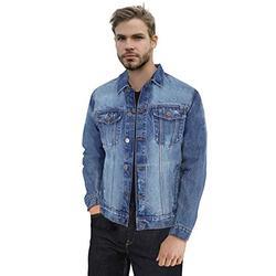 X RAY Mens Denim Jacket Washed Casual Trucker Jean Jacket for Men, Medium Blue, Small