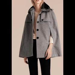 Burberry Jackets & Coats | Burberry Wool Cashmere Cape With Fur Collar | Color: Gray | Size: M