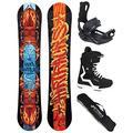 AIRTRACKS 156 159 162 cm Ensemble de Snowboard et Snowboard avec Rocker Hybride et Fixations pour Snowboard, Boots Savage Black 44