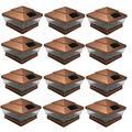 """RELIGHTABLE 12 Pack Outdoor 5"""" X 5"""" Solar 5-LED Post Deck Cap Square Fence Light Landscape Lamp PVC Vinyl (Copper)"""