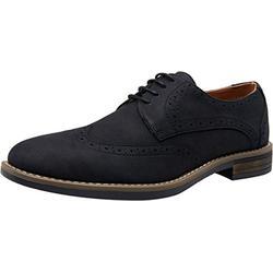 VOSTEY Men's Dress Shoes Black Dress Shoes for Men Casual Dress Shoes Formal Shoes for Men Wingtip Business Casual Shoes Men Suede Shoes (BMY644 Black 11)