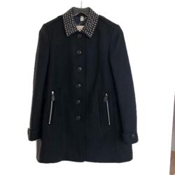 Burberry Jackets & Coats | Burberry Brit Studded Collar Wool A-Line Coat | Color: Black | Size: 4
