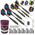 Professional Steel Tip Darts Set Customizable Configuration 6 Darts 6 Aluminum, 12 Plastic Shafts,12 Rubber O'Rings, 6 Standard + 6 Slim Flights + Dart Sharpener + Dart Tool, Case (GMC-B Purple 23g)