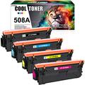 Cool Toner Compatible Toner Cartridge Replacement for HP 508A 508X CF360X CF360A HP M553 Toner Color Laserjet Enterprise M553 M553dn M577 M553n CF361A CF362A CF363A (Black Cyan Yellow Magenta 4-Pack)