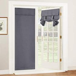 RYB HOME French Door Curtains - Blackout Tricia Window Door Curtain Self Adhesive Adjustable Drapes Privacy Thermal Insulated Bedroom Door Window Curtain, 26 x 69, 1 Pair, Grey