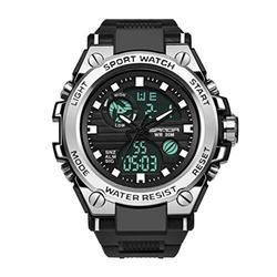 Men's Watches Digital Watch Men Military Watch Tactical Watch Mens Watches Waterproof Sport Watches for Men (Black Silver)