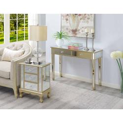 Gold Coast Vineyard 3 Drawer Mirrored End Table in Champagne & Mirror - Convenience Concepts 413359CHMP