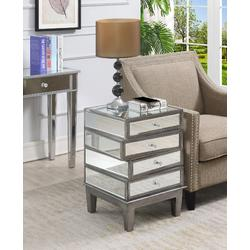 Gold Coast J Daniels End Table in Antique Silver & Mirror - Convenience Concepts 413888AS