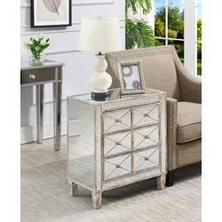 Gold Coast BettyB Mirrored End Table in Mirror & Weathered White - Convenience Concepts 413255WW