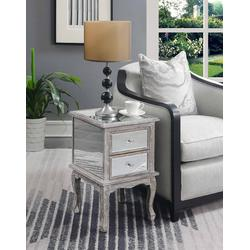 Gold Coast Victoria Mirrored End Table in Mirror & Weathered Gray - Convenience Concepts 413535WGY