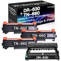 Go4Color Compatible Toner Cartridges & Drum Unit Replacement for Brother DR630 DR-630 TN660 TN-660 Toners use with Brother HL-L2300D MFC-L2680W MFC-L2740DW Printer (1x Drum + 3X Toner, 4-Pack)