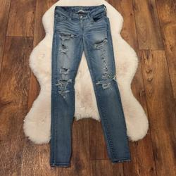 American Eagle Outfitters Jeans | American Eagle Jegging Distressed Denim Jeans | Color: Blue | Size: 2