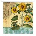 LIVEFUN Rustic Sunflower Shower Curtain Inspirational Quote Belief Vintage Yellow Wild Flower Spring Floral Graffiti Art Shabby Chic Country Bathroom Curtain Sets, 71 x 71 inches Fabric with 12 Hooks