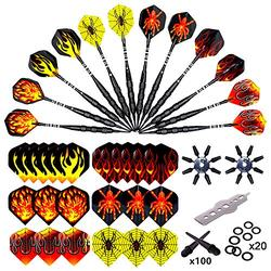 Roobeeo Soft Tip Darts 12 Pcs 18g Plastic Tip Darts Set for Electronic Dart Board with Nickel Plated Barrels&Aluminum Shafts 100 Extra Dart Tips 24 Flights 20 Extra Rubber Rings Flight Protectors&Tool