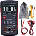 Aimometer EBTN LCD Multimeter 3-Line Display 9999 Counts Button Design True RMS Auto-Ranging Digital Voltmeter AC/DC Amp Volt Ohm Hz Diode Temp Cap Continuity Tester with Alligator Clip