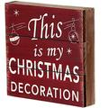 """Rustic Christmas Sign Decor Wood Plaque Hanging Wall Art Sign, 8"""" x 8"""" Primitive Christmas Box Sign Hanging Decoration Wooden Wall Decor Sign This Is My Christmas Home Decor Accent (Xmas Sign A)"""