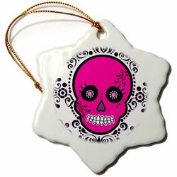 The Holiday Aisle® Day of the Dead Skull Día De Los Muertos Sugar Skull Holiday Shaped OrnamentCeramic/Porcelain, Size 3.0 H x 3.0 W x 0.0625 D in