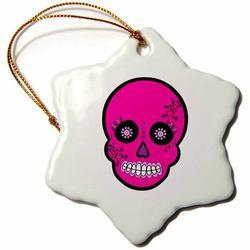 The Holiday Aisle® Skull Dia De Los Muertos Sugar Holiday Shaped OrnamentCeramic/Porcelain, Size 3.0 H x 3.0 W x 0.0625 D in | Wayfair