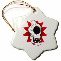 The Holiday Aisle® Skulls Cyclops Skull 3 Holiday Shaped OrnamentCeramic/Porcelain in Red, Size 3.0 H x 3.0 W x 0.0625 D in   Wayfair