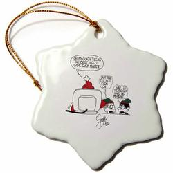 The Holiday Aisle® Sean Boley Cartoon About Santa & Video Games for Christmas Holiday Shaped Ornament Ceramic/Porcelain in Black | Wayfair