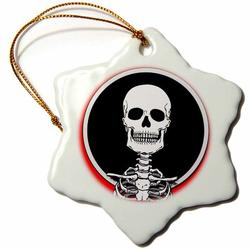 The Holiday Aisle® Skeletons Skull Holiday Shaped OrnamentCeramic/Porcelain, Size 3.0 H x 3.0 W x 0.0625 D in | Wayfair