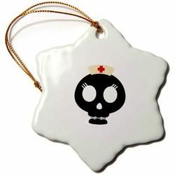 The Holiday Aisle® Nurse Skull Holiday Shaped OrnamentCeramic/Porcelain, Size 3.0 H x 3.0 W x 0.0625 D in   Wayfair