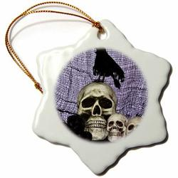 The Holiday Aisle® Skull & Raven on Top of Skull Holiday Shaped OrnamentCeramic/Porcelain in Black, Size 3.0 H x 3.0 W x 0.0625 D in | Wayfair