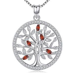 Aniu Birthstone-Necklace for Women, Solid Sterling Silver Family Tree-of-Life-Pendant, Crystal Gemstone Charm Jewelry, Birthday Gift for Mom Wife Girlfriend Grandma (July Birthstone)