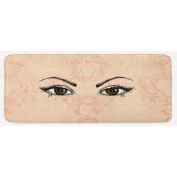 East Urban Home Sketch Style Pair Of Woman Eyes Female Look w/ Victorian Floral Ornaments Peach Black Amber Kitchen MatSynthetics in Brown | Wayfair