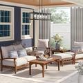 Birch Lane™ Summerton 7 Piece Teak Sofa Seating Group w/ Cushions Wood/Natural Hardwoods in Brown/White   Wayfair 9EC18F802EAC419C9F19B386A1370875