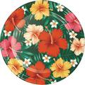 Creative Converting Tropical Flowers Dinner Plate for 24 GuestsHeavy Duty Paper in Green/Red/Yellow | Wayfair DTC343268DPLT