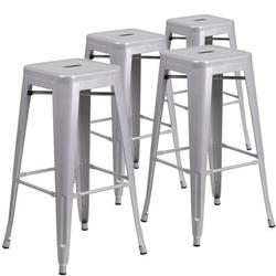 Flash Furniture Comercial Grade Bar StoolMetal in Gray, Size 24.0 H x 17.0 W x 17.0 D in | Wayfair 4-CH-31320-30-SIL-GG
