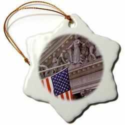 The Holiday Aisle® New York Stock Exchange, Broad Street & Wall Street, New York, USA Snowflake Holiday Shaped Ornament Ceramic/Porcelain in Brown