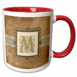 3dRose Initial Vintage Elegant Vines & Flowers in & Pewter Look Coffee Mug Ceramic in Red, Size 3.75 H x 4.0 W in | Wayfair mug_186349_5