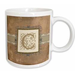 3dRose Initial Vintage Elegant Vines & Flowers in & Pewter Look Coffee Mug Ceramic in White, Size 4.65 H x 4.9 W in   Wayfair mug_186372_2