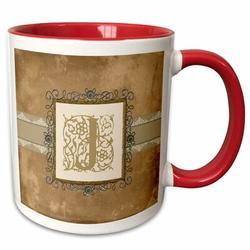 3dRose Initial Vintage Elegant Vines & Flowers in & Pewter Look Coffee Mug Ceramic in Red, Size 3.75 H x 4.0 W in | Wayfair mug_186356_5