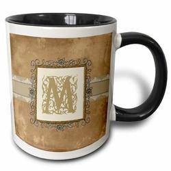 3dRose Initial Vintage Elegant Vines & Flowers in & Pewter Look Coffee Mug Ceramic in Black, Size 4.65 H x 4.9 W in | Wayfair mug_186359_9