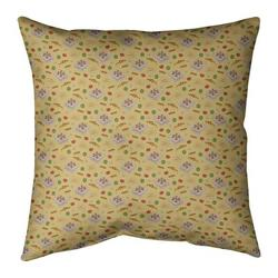 """Ebern Designs Kitterman Pizza Square Linen Pillow, Fill Material: Polyester/Polyfill, Polyester/Polyfill in Yellow, Size 26"""" H x 26"""" W 
