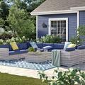 Sol 72 Outdoor™ Cloyd 11 Piece Rattan Sunbrella Sectional Seating Group w/ Cushions Sunbrella Fabric Included/Wicker/Rattan in Blue   Wayfair