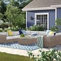 Sol 72 Outdoor™ Cloyd 11 Piece Rattan Sunbrella Sectional Seating Group w/ Cushions Sunbrella Fabric Included/Wicker/Rattan in Brown   Wayfair