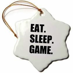 The Holiday Aisle® Eat Sleep Game Fun Gifts for Gamers Video Pro-Gamer Snowflake Holiday Shaped Ornament Ceramic/Porcelain in Black | Wayfair