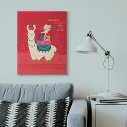 The Holiday Aisle® 'Jingle Bells Llama' Graphic ArtCanvas & Fabric/Metal in Red, Size 40.0 H x 30.0 W x 1.5 D in | Wayfair